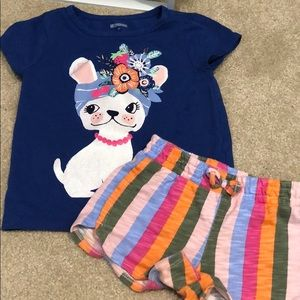 Gymboree outfit! t-shirt and stripe shorts